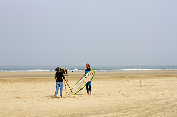 Photographer Joni Sternbach photographing surfer Ben Skinner in Cornwall for Surf Site Tin Type