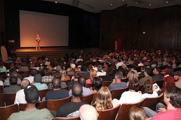 the audience in the cinema at the san diego surf film festival