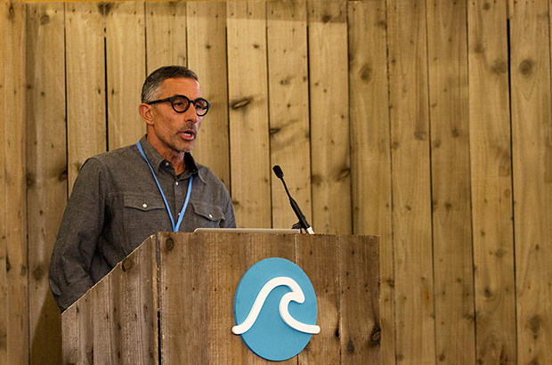 mark price the ceo of firewire surfboards speaking at the 2015 global waves conference