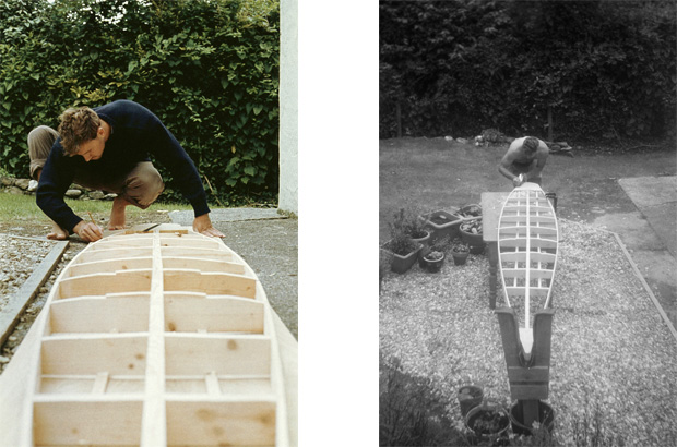 two images showing the construction of the framework for a tom blake style hollow wooden surfboard