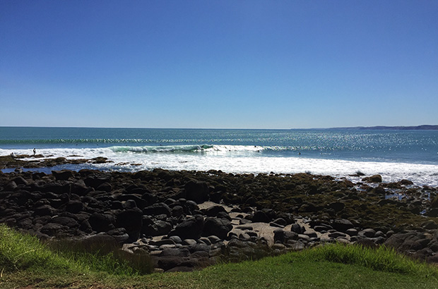 surfers riding small waves on a sunny day at manu bay in raglan, new zealand