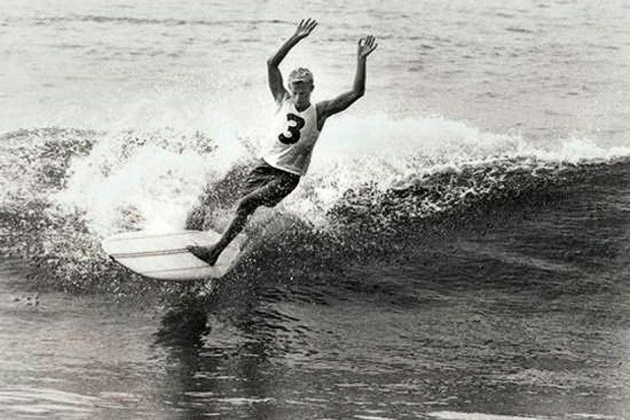 """Bernard """"Midget"""" Farrelly surfing in the 1964 world surfing championships, which he won, photographed by jack eden"""