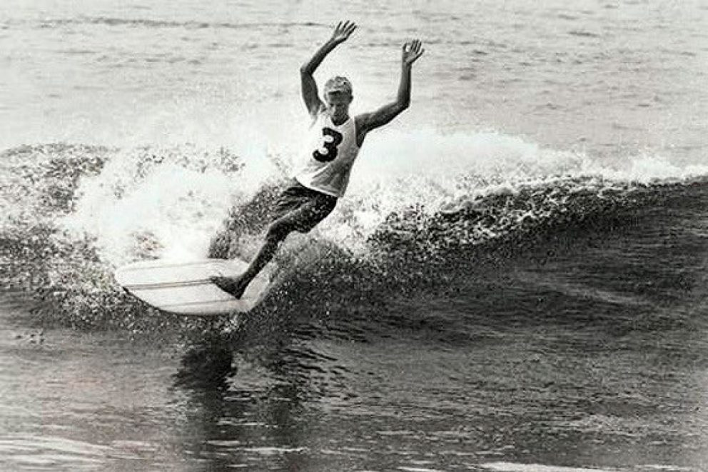"Bernard ""Midget"" Farrelly surfing in the 1964 world surfing championships, which he won, photographed by jack eden"