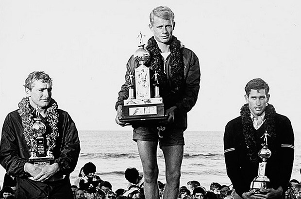 midget farrelly, mike doyle and joey cabell on the podium at the 1964 world surfing championships photographed by jack eden