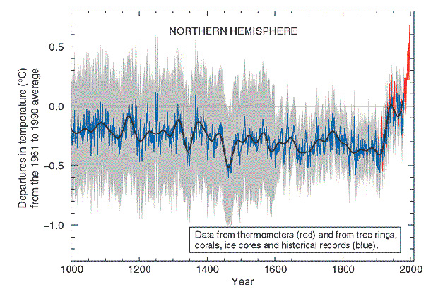 manns hockey stick graph showing global temperature records