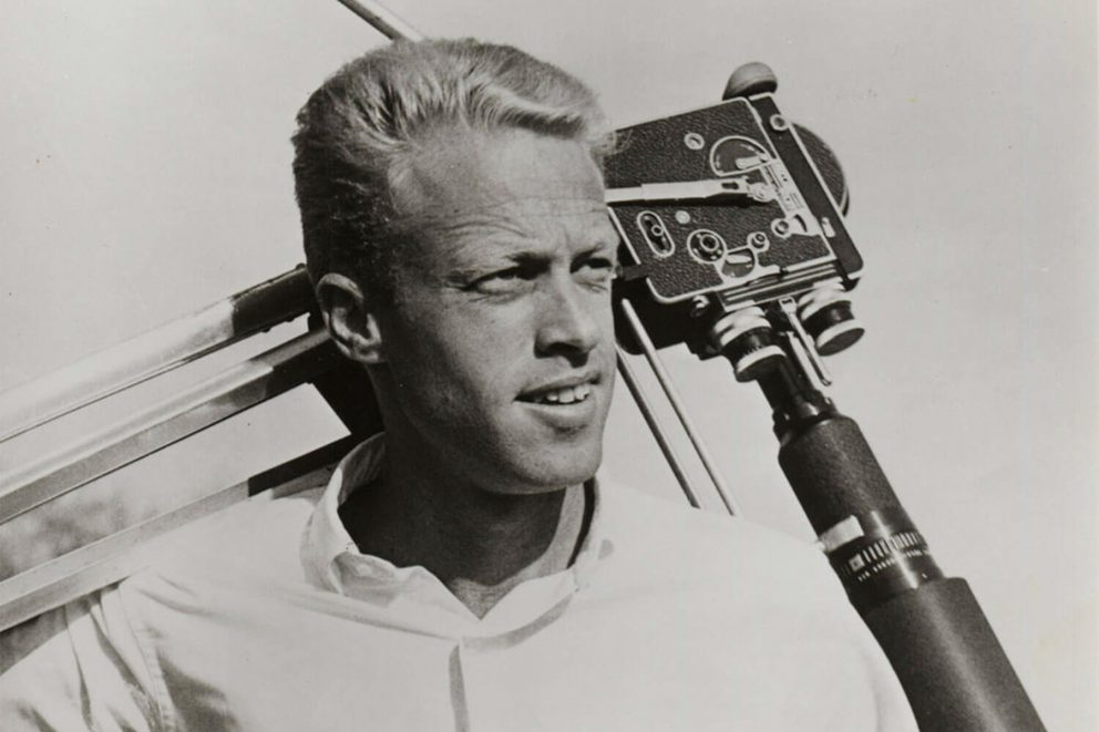 portrait of surf filmmaker bruce brown, during filming of the endless summer.