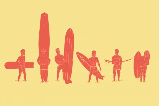illustration depicting the history of surfboard design in a chronological 'evolution of man' style timeline, from pre-contact polynesian surfboards through to a current contemporary high performance shortboard.