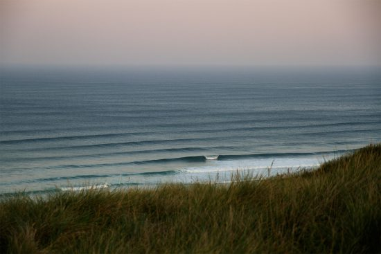 swell lines at dawn, at perranporth, cornwall