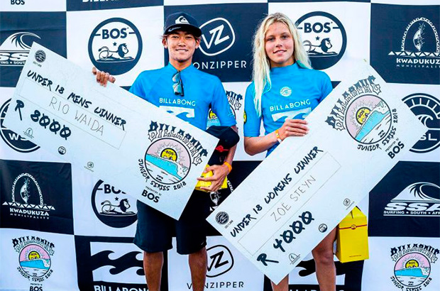 the winners of the mens and womens ballito pro junior with prize cheques showing a difference in winnings