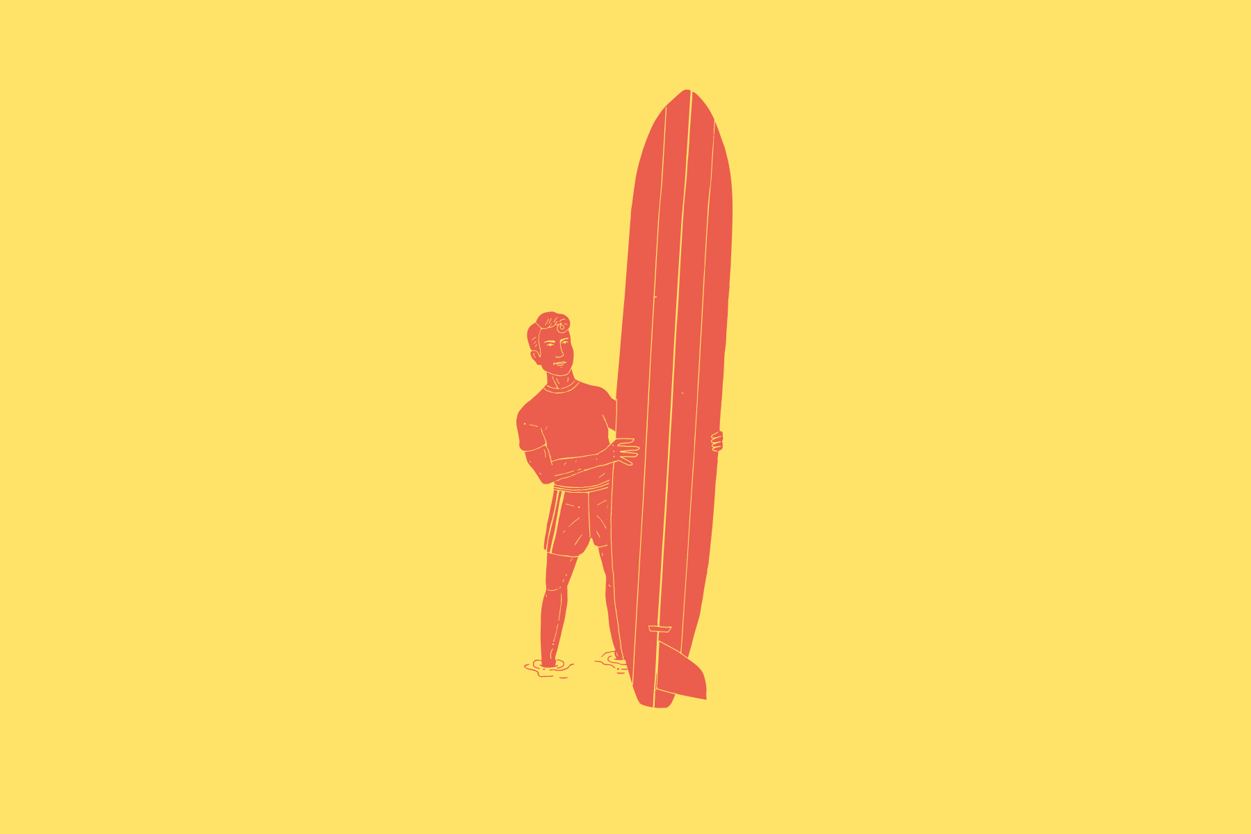 illustration of a surfer and pig style longboard from the 1950s by clara jonas
