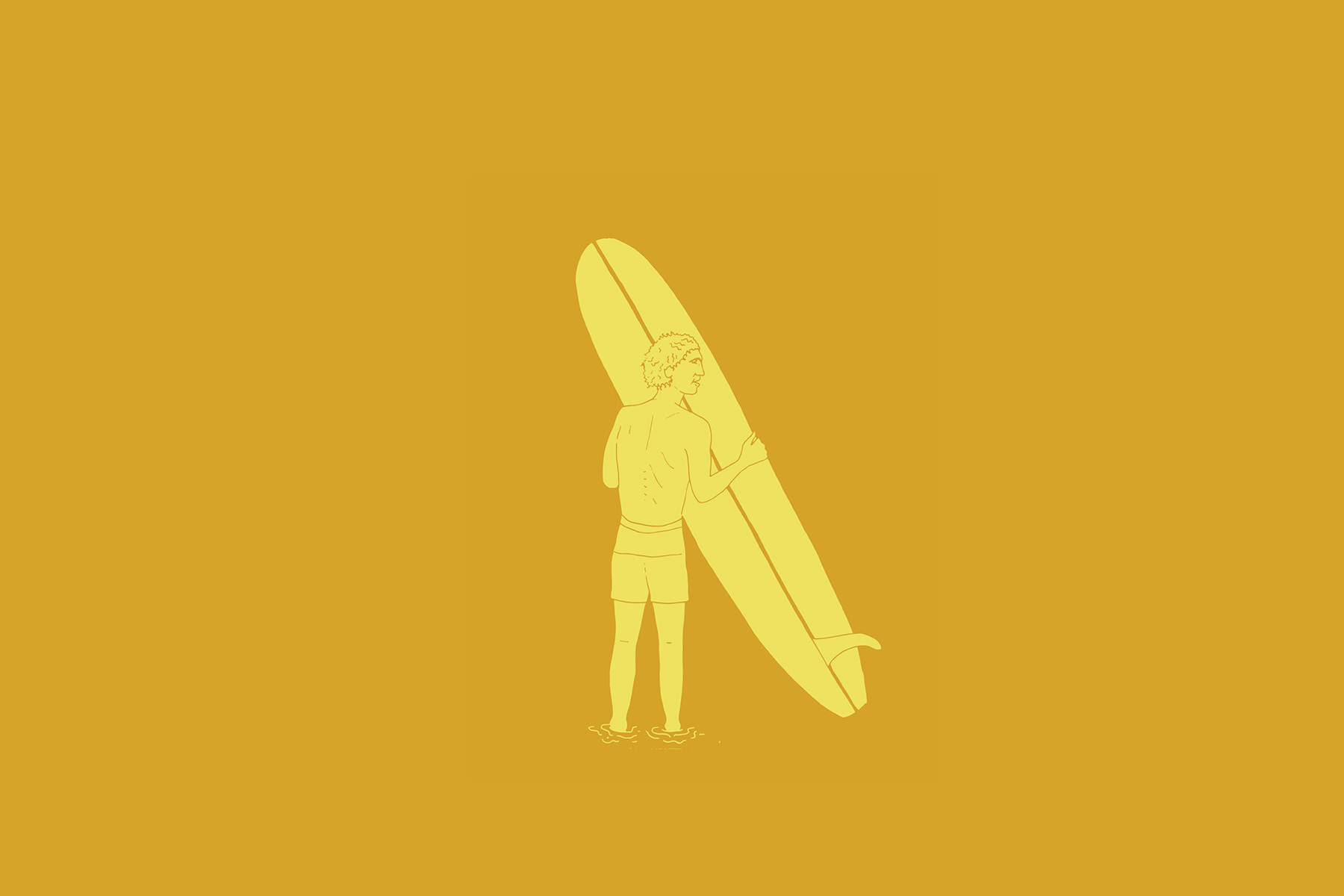 illustration of a surfer holding a nat young magic sam surfboard from 1966 by clara jonas