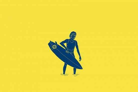 illustration of simon anderson and his thruster surfboard, by clara jonas