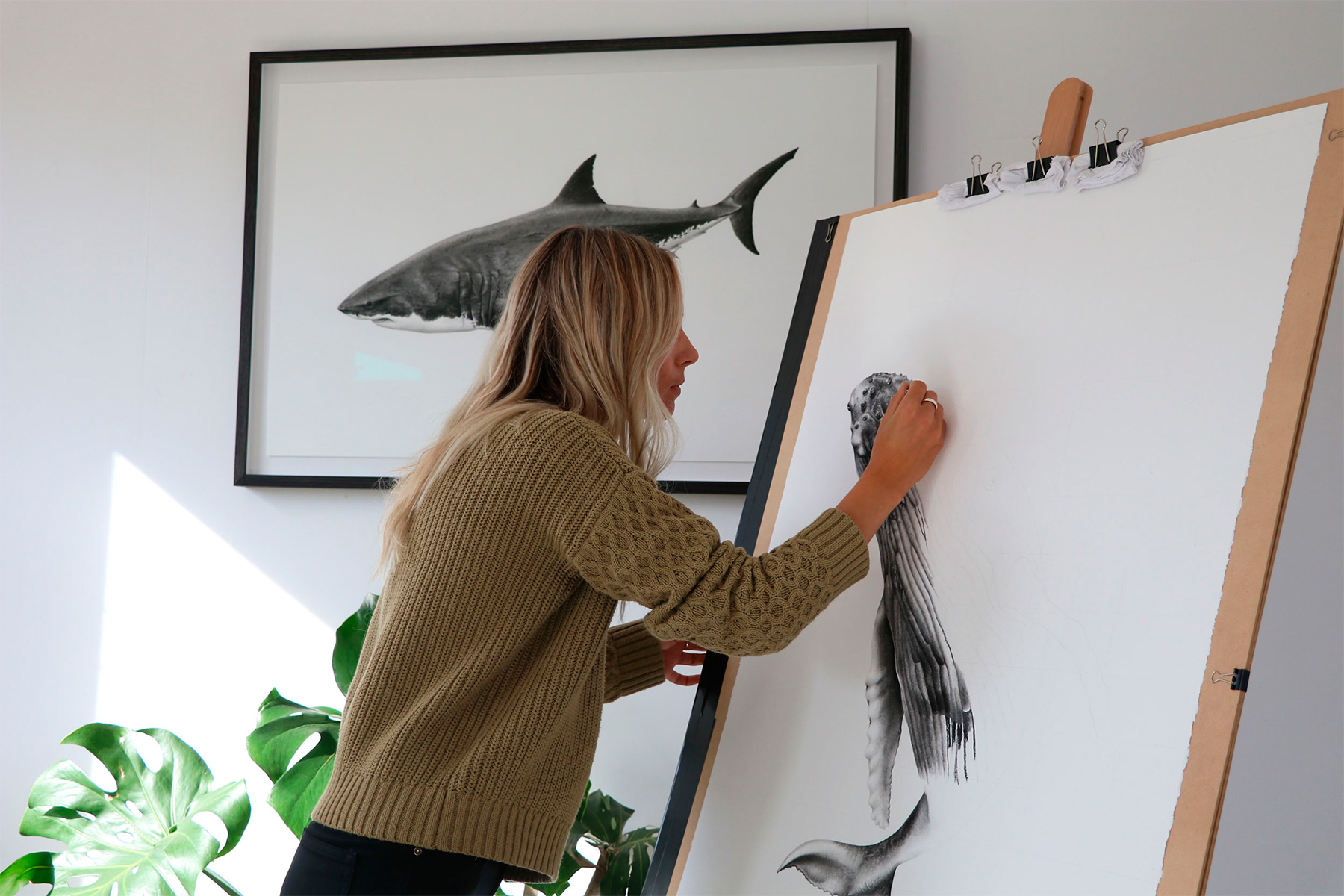 australian artist brittany march at work in her studio
