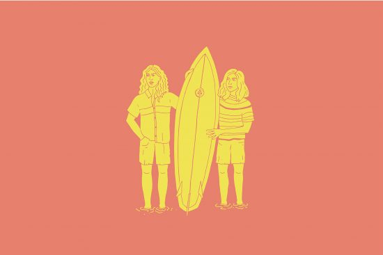 illustration of the campbell brothers and their bonzer surfboard design, by clara jonas