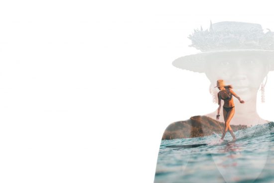 double exposure photograph of surfer kelis kaliopaa by tommy pierucki